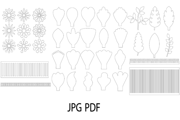 Paper Flower Template Bundle, Flower Petal, Leaf (Graphic