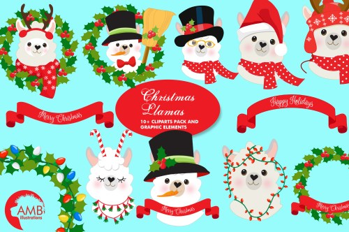 small resolution of christmas llama clipart amb 2101 graphic by ambillustrations creative fabrica
