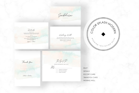Color Splash Modern Invitation Suite Graphic by