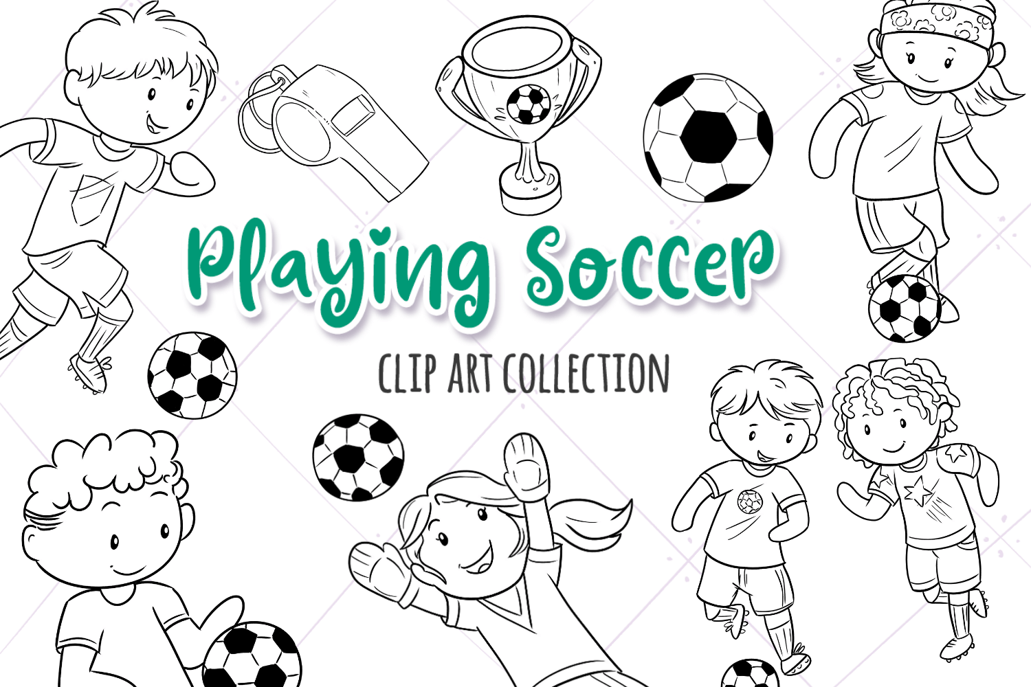 Kids Playing Soccer (Black and White) Graphic by