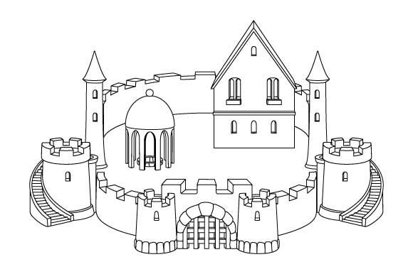 Sandcastle Line Art Coloring Page Graphic by GraphicsFarm