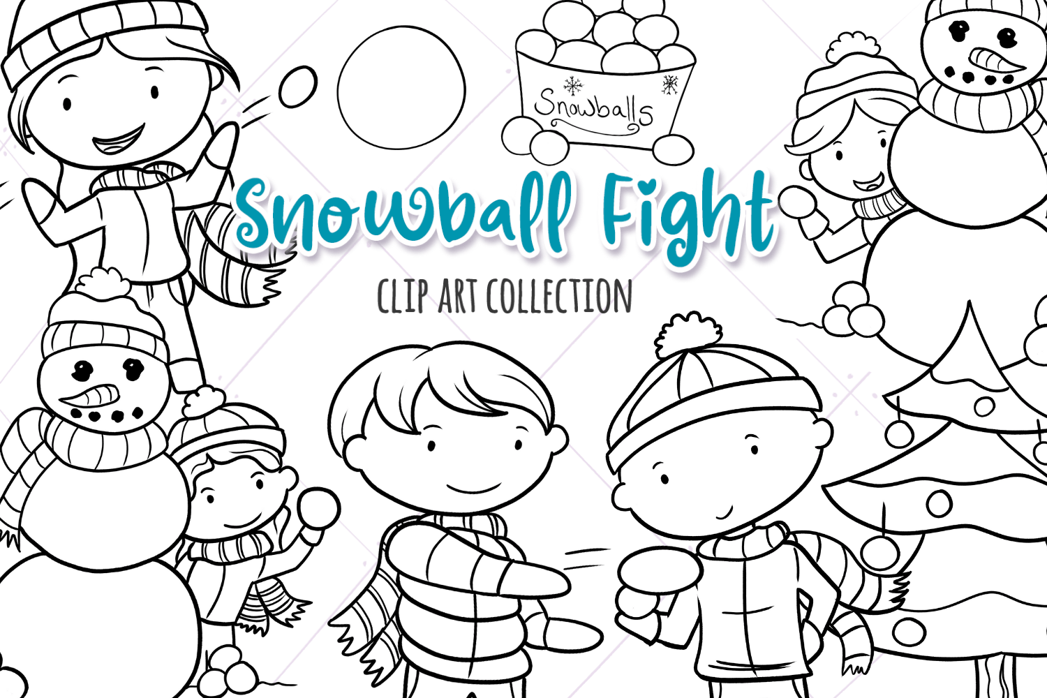 Snowball Fight Winter Digital Stamps Graphic By