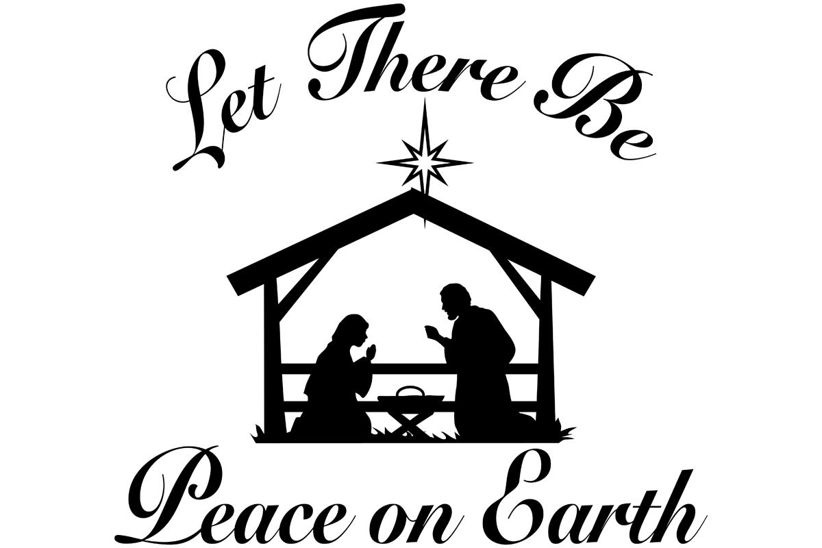 Peace on Earth Nativity Scene Graphic by iDrawSilhouettes