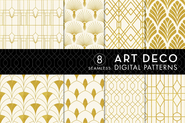 8 Seamless Ivory Gold Art Deco Pattern Graphic By Eyestigmatic Design Creative Fabrica