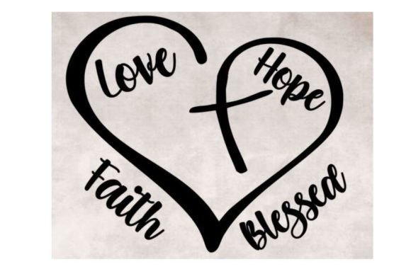 Download Heart with Cross Faith Love Hope Blessed (Graphic) by ...