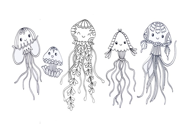 Kawaii Jellyfish Coloring Pages Graphic by CapeAirForce · Creative