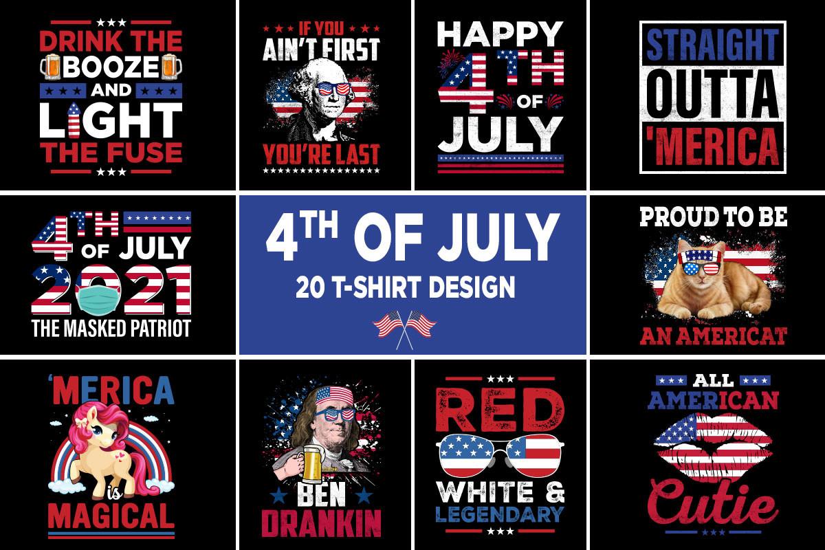 4th July T-Shirt Design Bundle.