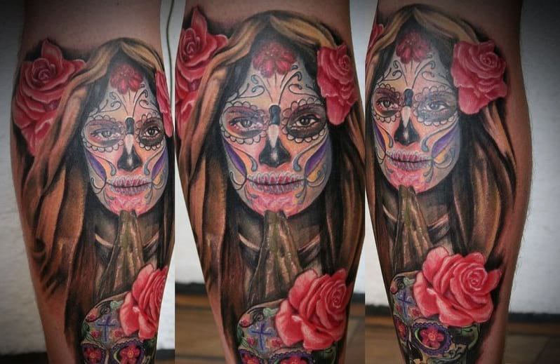 sugar skull roses tattoo