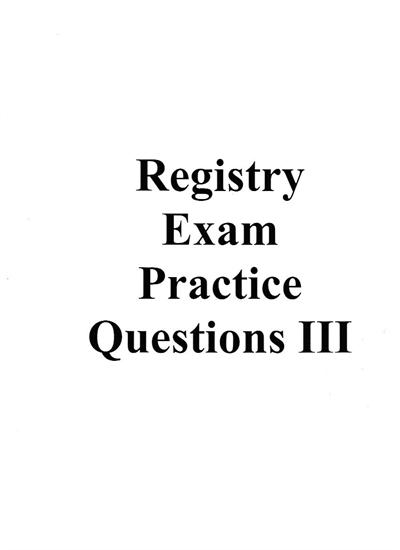 Practice Test for BRPT Registry Exam