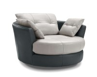Cecile Leather Round Armchair With 3 Adjustable Headrests ...