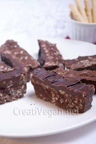 Turrón de chocolate crujiente vegano
