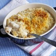 Rigatoni con crema de anacardos y gratinado crujiente