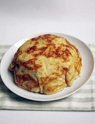 Arroz blanco y tortilla vegana para Tenshinhan