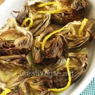 Alcachofas asadas con limón y hierbas