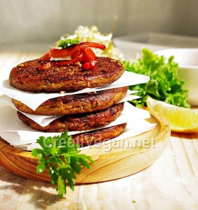 Hamburguesas de quinoa y lentejas germinadas