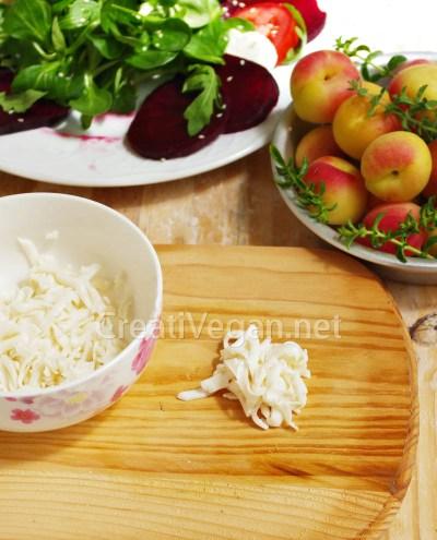Mozzarella vegana casera rallada