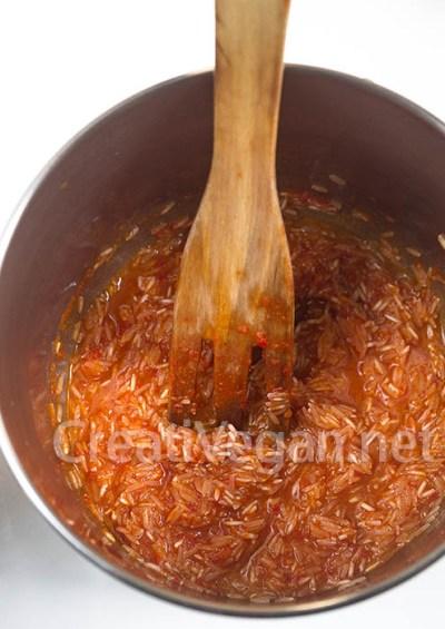 Preparación de jollof rice