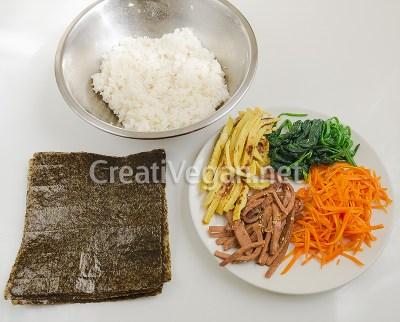 Ingredientes para kimbap vegano