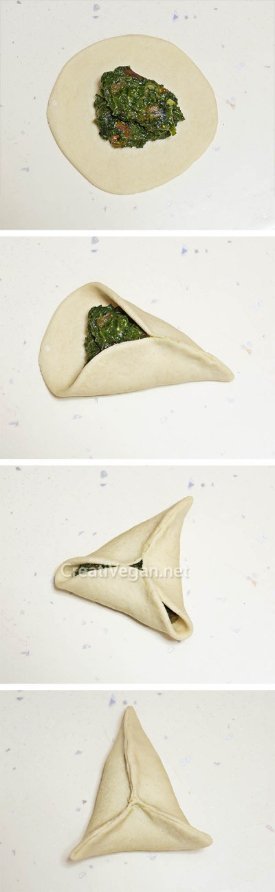 Rellenando fatayer vegetal triangular