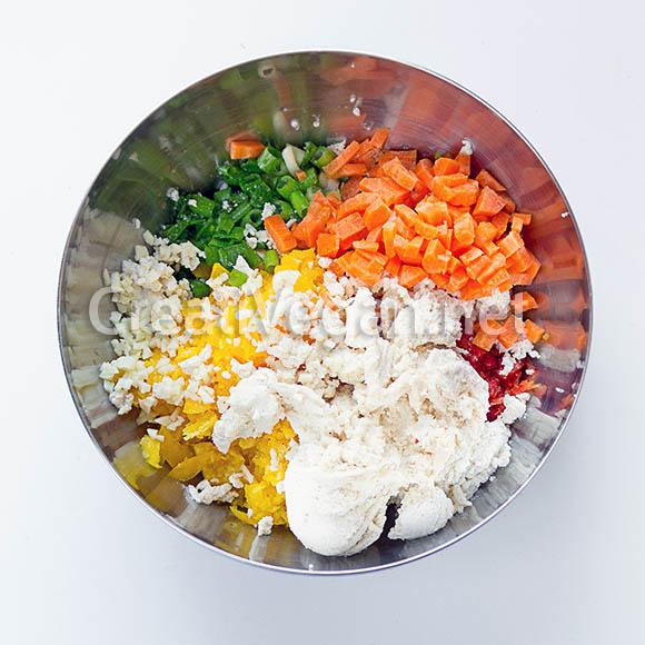 Ingredientes para las albóndigas de tofu y pimiento amarillo