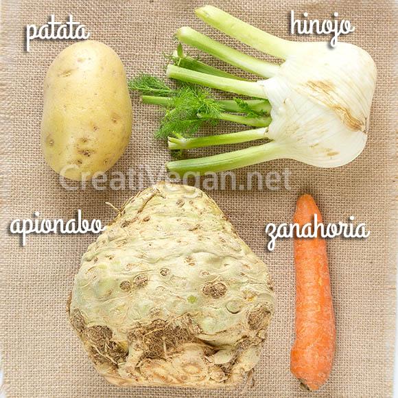 Patata, hinojo, apionabo y zanahoria para hacer sopa