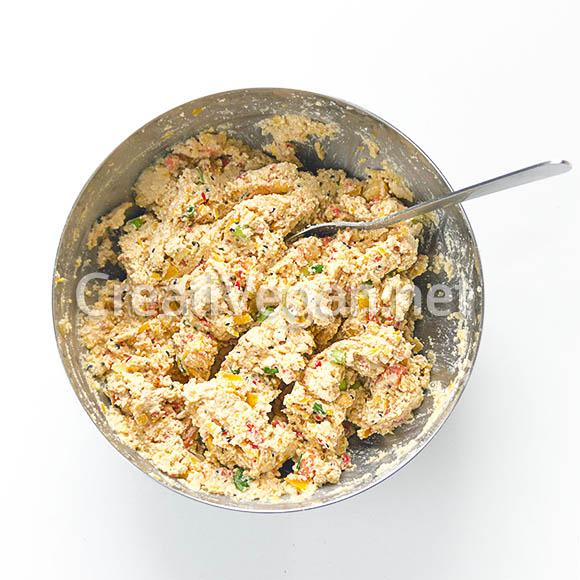 Masa de albóndigas de tofu y pimiento amarillo