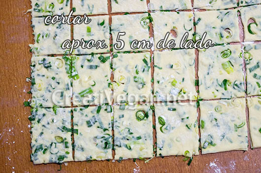 Crackers de spring onion - proceso
