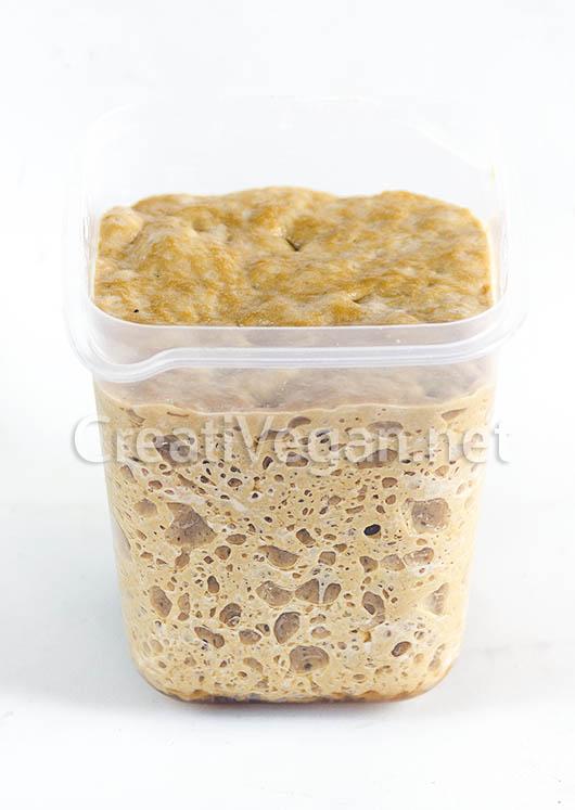 Mezcla de gluten leudado para hacer seitán esponjoso