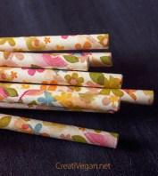 Pajitas de papel con estampado de flores - CreatiVegan.net