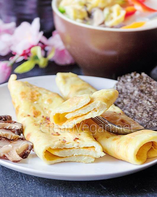 Tortilla vegana para acompañar tteokguk