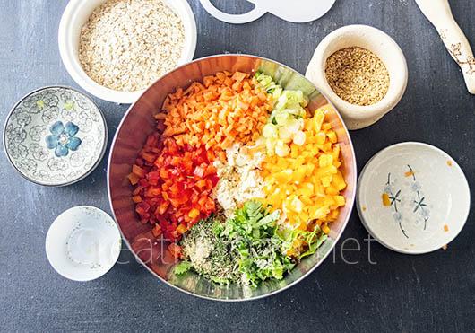 Ingredientes para hacer las Luciburgers: hamburguesas de tofu y verduras - CreatiVegan.net