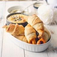 Mini croissants hojaldrados rellenos de patés vegetales