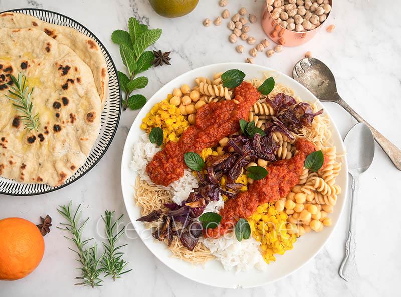 Kushari: plato combinado de legumbres y cereales egipcio
