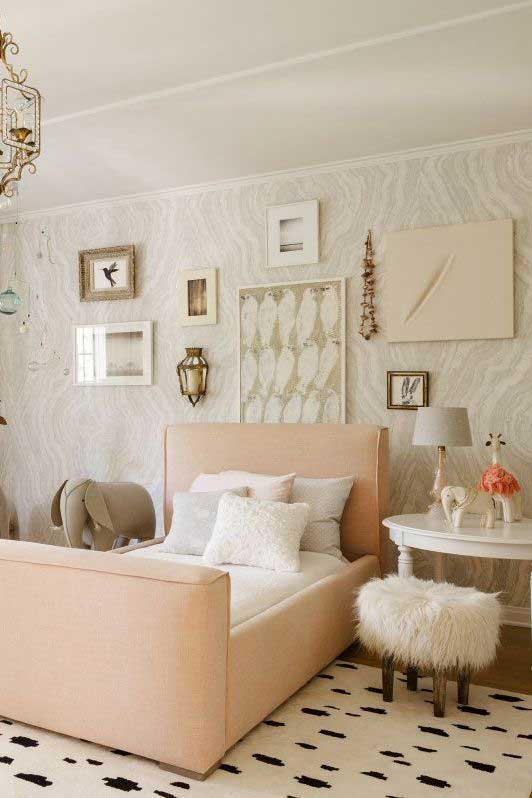 Kids Room elegant gold and white gallery wall