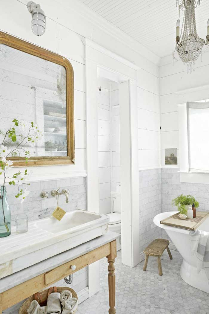 athroom, vintage-inspired materials and an antique