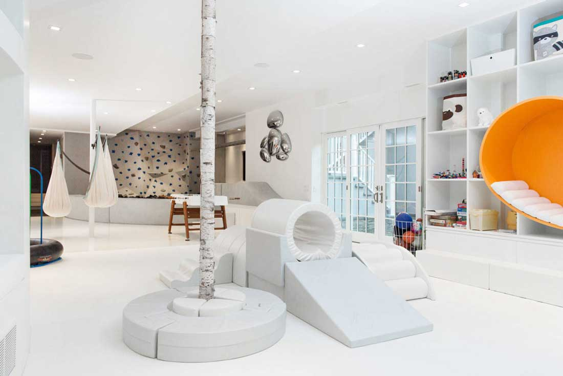 white basement playroom