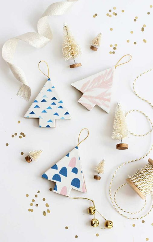 Fabric Covered Christmas Tree Ornaments Gift Ideas