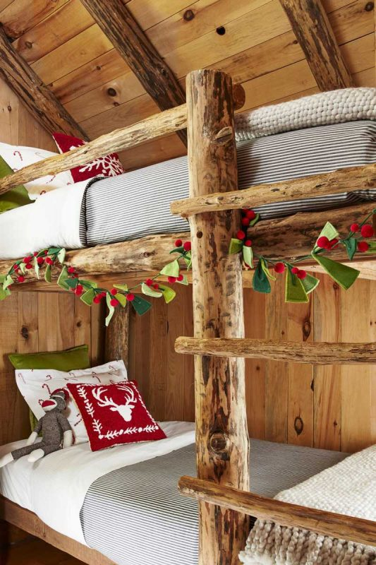 Wrap garland around bedpost for kids christmas