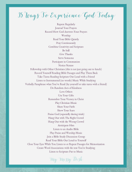 35 Ways for Experiencing God