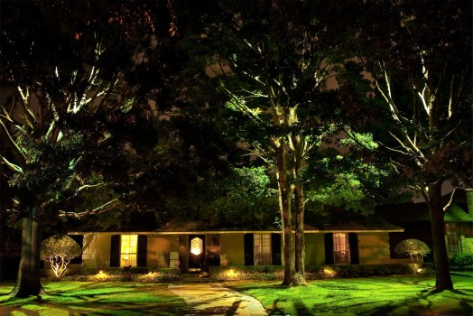 Beautiful appearance at night, highlighting the characteristics and landscaping of the home!