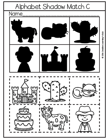 Shadow Matching Alphabet Cut & Paste Worksheets ~Digital