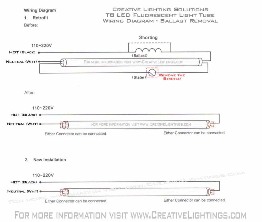 medium resolution of please referrence the t8 led wiring diagram for ballast removal and wiring of the t8 led