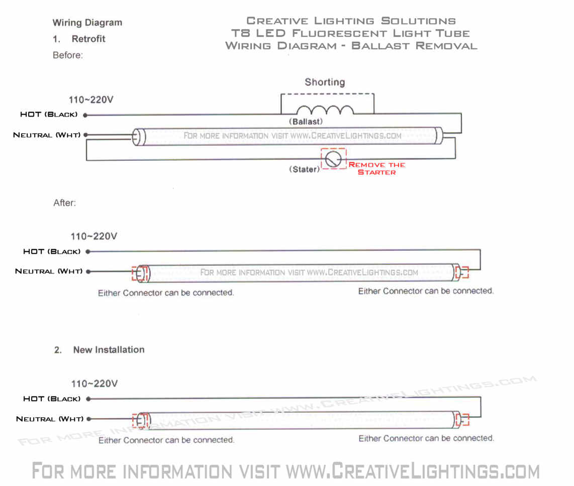 hight resolution of please referrence the t8 led wiring diagram for ballast removal and wiring of the t8 led