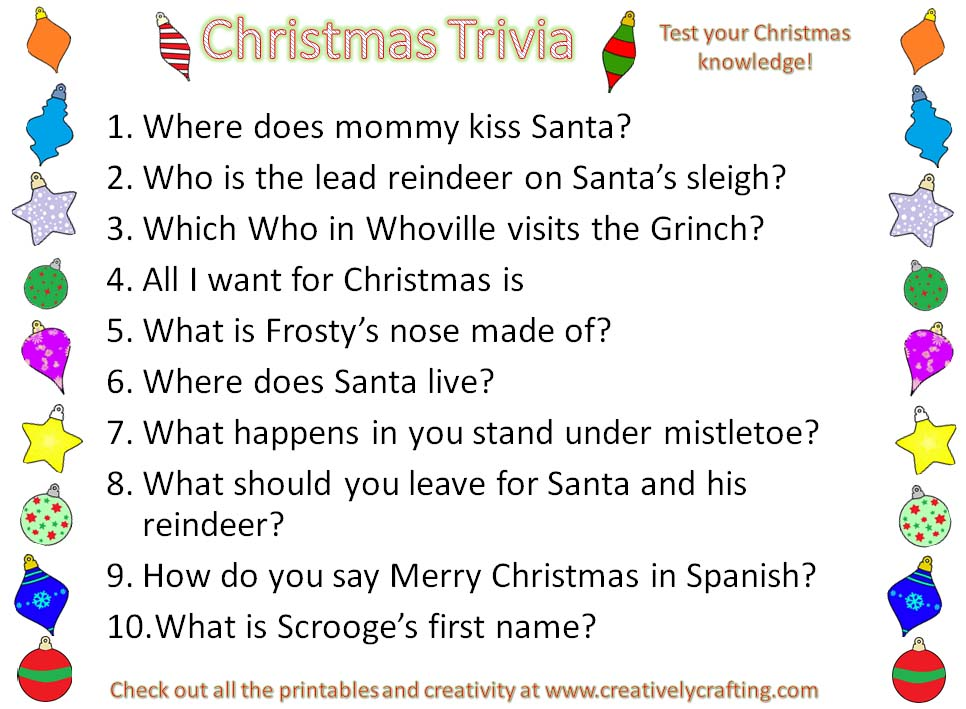 image relating to Christmas Trivia Printable identified as Xmas Trivia Printable - Creatively Composing