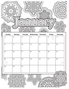 Coloring calendar for adults - coloring fun each month!