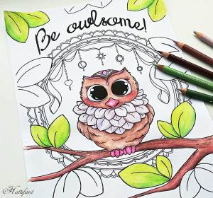 Adorable owl coloring page for adults