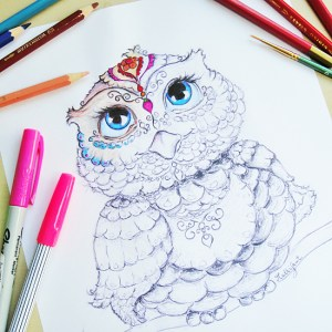 Beautifully unique owl coloring page.