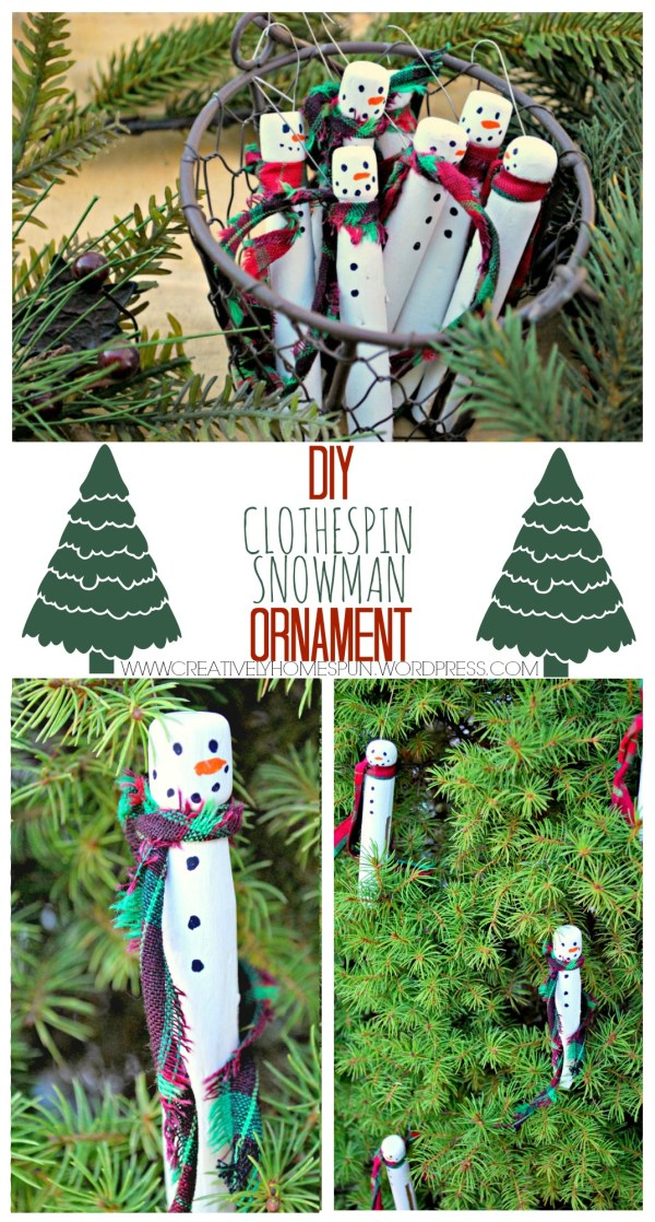 12 Days of Christmas Blog Hop: DIY Clothespin Snowman Ornament #12DaysOfChristmasBlogHop These cuties are great for ornaments, gift wrapping, etc. You can even have the kids help!