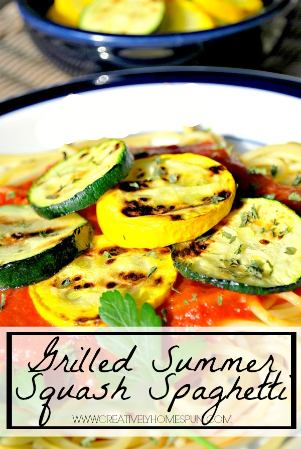 Grilled Summer Squash Spaghetti! It's great for switching up the usual spaghetti dinner by adding color and new flavor to your meal! #recipe #summermeal #zucchini