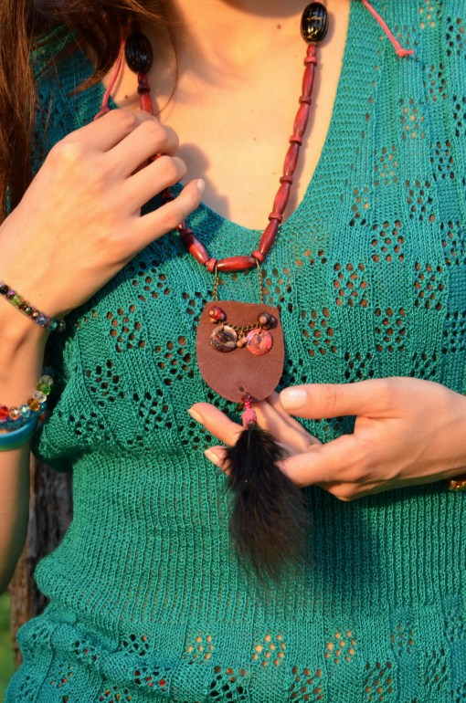 Purple handmade necklace - check out more at http://creativemag.ro